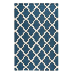 Modrý vlněný koberec Ava Navy, 182x274 cm