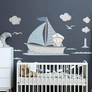 Modré dětské samolepky na zeď Ambiance Captain Teddy