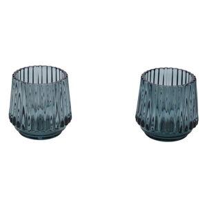 Sada 2 tyrkysových skleněných svícnů na čajovou svíčku Ego Dekor,ø7cm