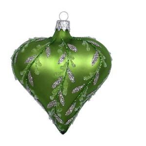 Sada 3 zelených skleněných vánočních ozdob Ego Dekor Heart