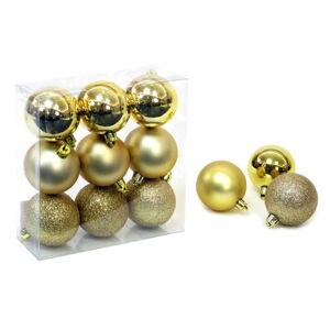 Sada 9 vánočních ozdob ve zlaté barvě Unimasa Caja