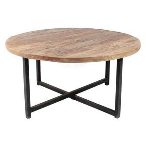 Černý konferenční stolek s deskou z mangového dřeva LABEL51 Dex, ⌀80 cm
