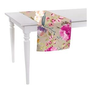 Béžový běhoun na stůl Mike & Co. NEW YORK Butterflies Blossom,140x40cm
