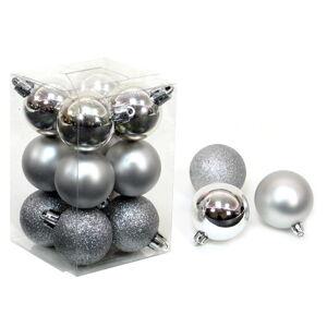 Sada 12 vánočních ozdob ve stříbrné barvě Unimasa Navidad