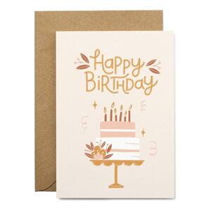 Narozeninové přáníčko z recyklovaného papíru s obálkou Printintin Happy Birthday, formát A6