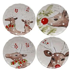 Sada 4 vánočních dezertních talířů z kameniny Casafina Deer Freinds, ø 27 cm