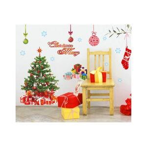 Vánoční samolepky Ambiance Santa,Balls and Tree
