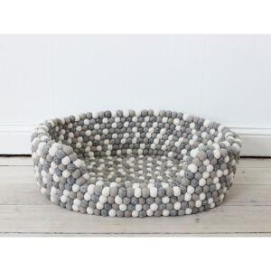 Světle šedo-bílý kuličkový vlněný pelíšek pro domácí zvířata Wooldot Ball Pet Basket, 60 x 40 cm