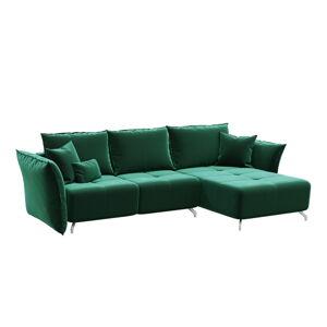 Tmavě zelená rozkládací pohovka devichy Hermes, konvertibilní roh