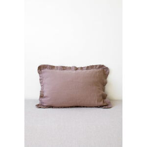 Starofialový lněný povlak na polštář s řaseným lemem Linen Tales, 50 x 60 cm