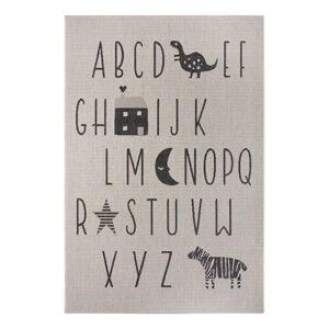 Černo-šedý dětský koberec Ragami Letters, 200 x 290 cm