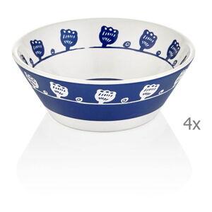 Sada 4 modro-bílých porcelánových misek Mia Bloom, ⌀ 15 cm