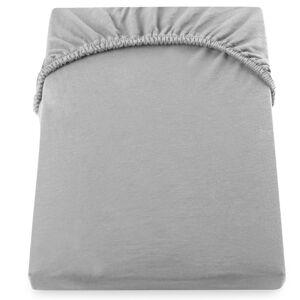 Ocelově šedé elastické bavlněné prostěradlo DecoKing Amber Collection, 80/90 x 200 cm