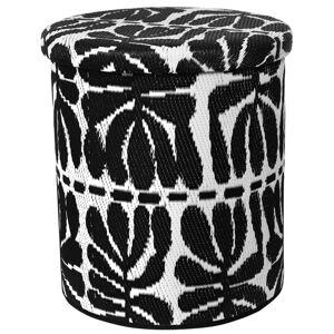 Černo-bílý venkovní puf s úložným prostorem Fab Hab Serowe Black