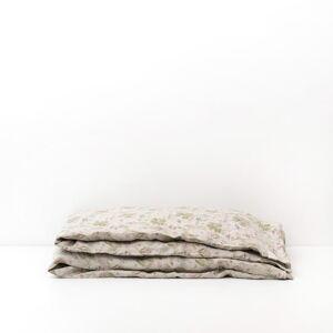 Dětské béžové lněné povlečení Linen Tales Botany,140x200cm