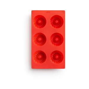 Červená silikonová forma na mini bábovky Lékué