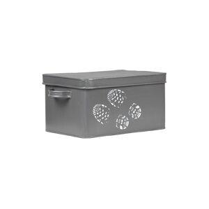 Šedý kovový box na přípravky pro boty LABEL51