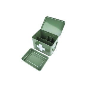Zelená kovová lékarnička PT LIVING White Cross