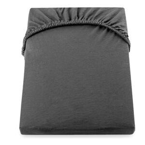 Tmavě šedé elastické bavlněné prostěradlo DecoKing Amber Collection, 80/90 x 200 cm