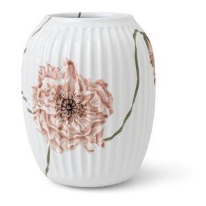 Bílá porcelánová váza Kähler Design Poppy, výška 21 cm