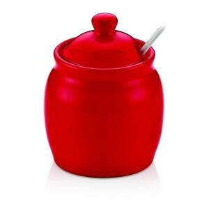 Červená porcelánová dóza na cukr s víkem Vivianos