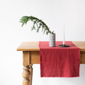Červený lněný běhoun na stůl Linen Tales Classic,40x 200cm
