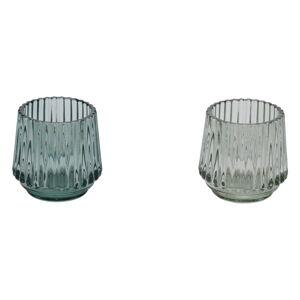 Sada 2 zelených skleněných svícnů na čajovou svíčku Ego Dekor,ø7cm