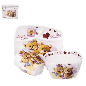 Set jídelního nádobí z porcelánu s motivem medvídků Orion