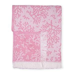 Tmavě růžový pléd s podílem bavlny Euromant Summer Coral, 140 x 180 cm