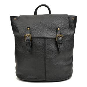Černý kožený batoh Roberta M, 34.5 x 33 cm