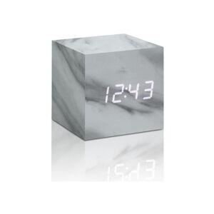 Šedý budík v mramorovém dekoru s bílým LED displejem Gingko Cube Click Clock