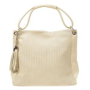 Béžová kožená kabelka Luisa Vannini, 45 x 34 cm
