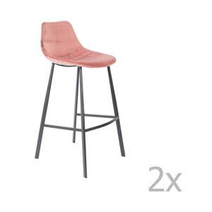 Sada 2 růžových barových židlí se sametovým potahem Dutchbone, výška 106 cm