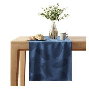 Tmavě modrý běhoun na stůl se sametovým povrchem AmeliaHome Peacock,40x140cm