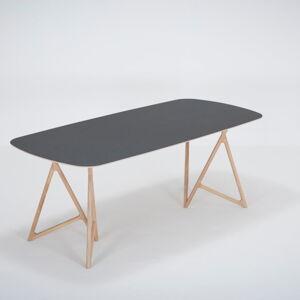Jídelní stůl z masivního dubového dřeva s černou deskou Gazzda Koza, 200x90cm