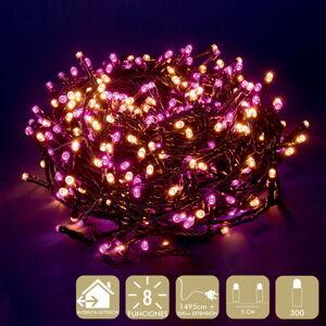 Růžovo-béžový světelný LED řetěz Unimasa, 300 světýlek