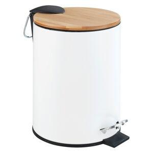 Bílý pedálový odpadkový koš Wenko Tortona Bamboo, 3l