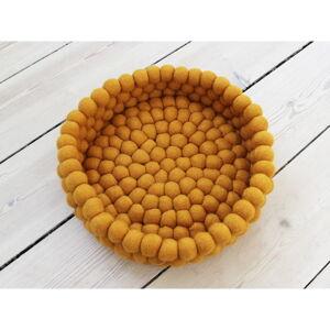 Hořčicově žlutý kuličkový vlněný úložný košík Wooldot Ball Basket, ⌀ 28 cm