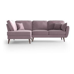 Světle růžová sametová rohová pohovka My Pop Design Auteuil, levý roh