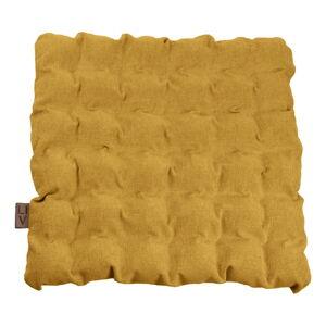 Tmavě žlutý sedací polštářek s masážními míčky Linda Vrňáková Bubbles, 55x55cm