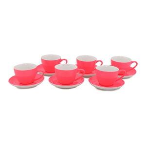 Sada 6 tmavě růžových porcelánových hrnků s podšálky Efrasia, 200 ml