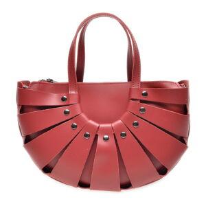 Červená kožená kabelka Roberta M, 31 x 20 cm
