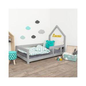 Šedá dětská postel domeček s pravou bočnicí Benlemi Poppi, 80 x 180 cm