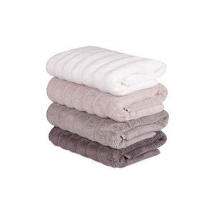 Sada 4 růžovo-bílých bavlněných ručníků Sofia, 50 x 90 cm