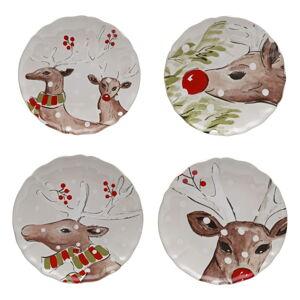 Sada 4 vánočních dezertních talířů z kameniny Casafina Deer Freinds, ø 21,4 cm