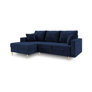 Modrá rozkládací pohovka s úložným prostorem Mazzini Sofas Muguet, levý roh