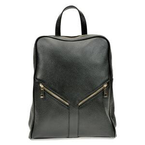 Černý kožený batoh Roberta M, 27 x 34 cm