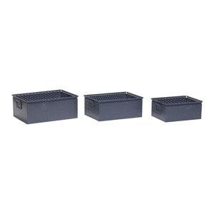 Sada 3 tmavě šedých úložných boxů Hübsch Margo