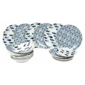 18dílná sada porcelánových talířů Villa d'Este Pesce