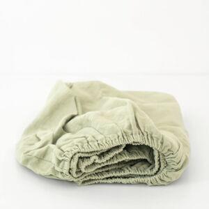 Dětské zelené lněné prostěradlo Linen Tales Nature,90x200cm